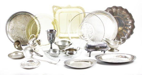 Box Lot of Assorted Silver Plated and Glass Items. Incl