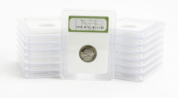 Fifteen (15) Assorted U.S. Nickels Encased in Plastic.