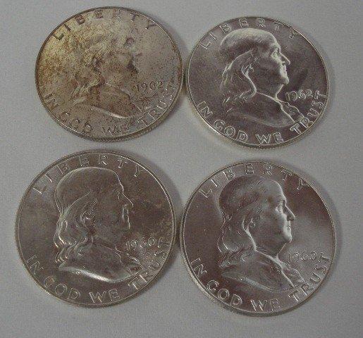 101: 4 Franklin Half Dollars. (2)1962, (2) 1960
