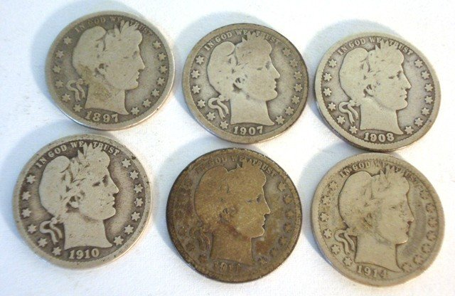 103: 6 Barber Silver Quarters. 1897-P, 1907-O, 1908-D,