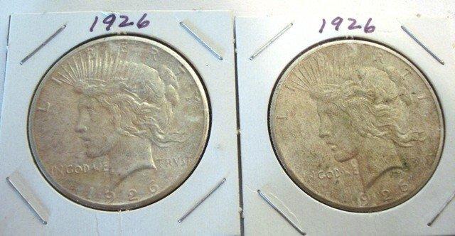 108: 4- Silver Peace Dollars 1926