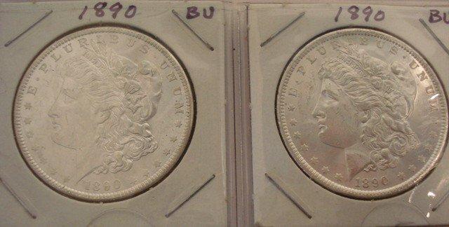 109: 4 Silver Morgan Dollars 1890 BU