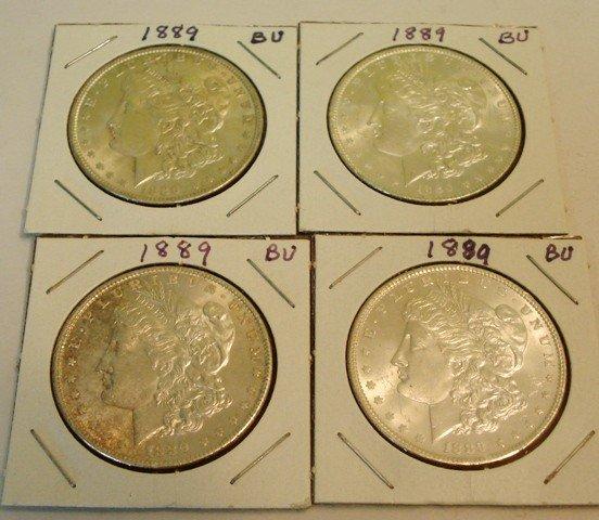 110: 4- Morgan Silver Dollars 1889