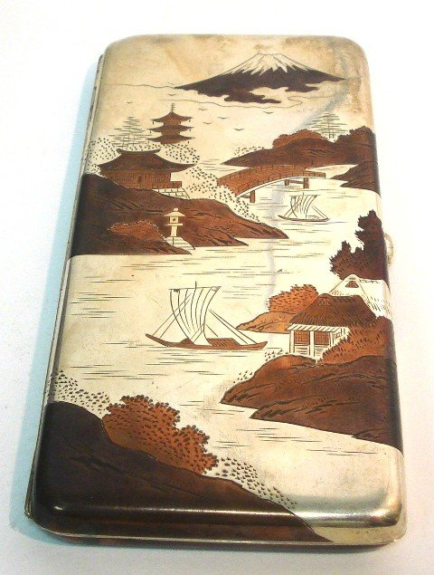 116: Japanese Mixed Metal .950 Silver Cigarette Case.