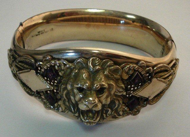 117: Victorian Jeweled Gold Cuff Bracelet w/ Lions Head