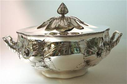 136: Gorham Whiting Sterling Hibiscus Covered Tureen