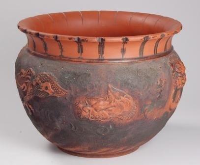 104: Oriental Redware Dragon Jardiniere