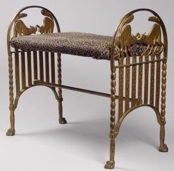 117: Art Deco Iron Cat Bench