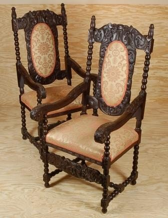 121: Pair Carved Walnut Flemish Renaissance Armchairs