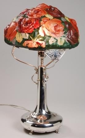 205: PAIRPOINT ROSE PUFFY LAMP