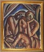 261: O/C THREE NUDES Cubist Painting . Attr: Zemsky