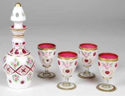 3: Bohemian Cut To Cranberry Handpainted Decanter Set.