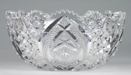 "4: Brilliant Cut Glass center Bowl. 9""  wide."