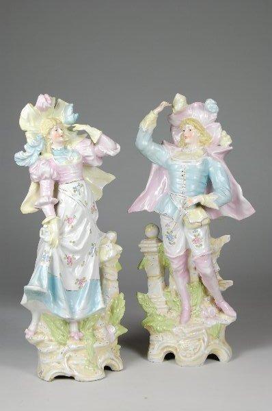 "9: Pr Antique Rudolstadt 19"" Figurines Man & Lady. 19"""
