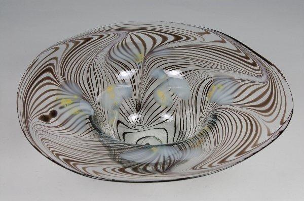 10: Modern Floral Zebra Bowl Signed Gerry Elliott Bentl