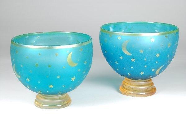 15: Cameo Glass Moon & Stars Bowls - Corriea. Near pair