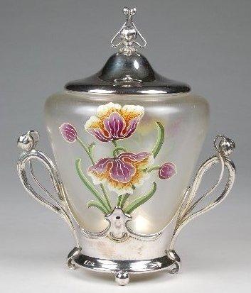 90: WMF Art Nouveau Enameled Lidded Jar in Silverplated