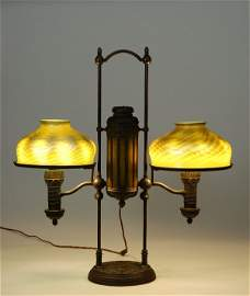 109: Exceptional  Tiffany Double Student Lamp w/ Damasc