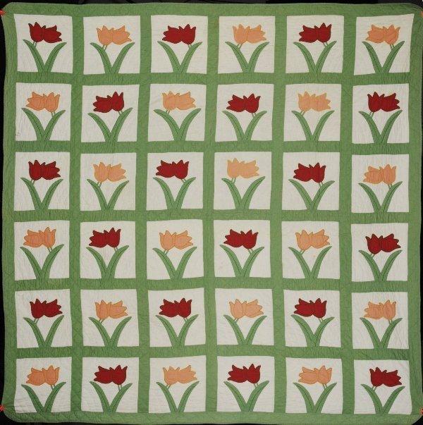 7A: Handstitched Antique Quilt - Tulips