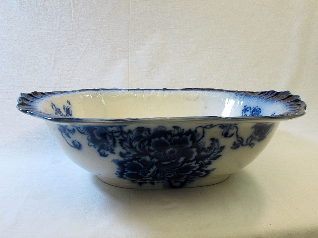 4: Staffordshire Flow Blue Rectangular Wash Basin Bowl