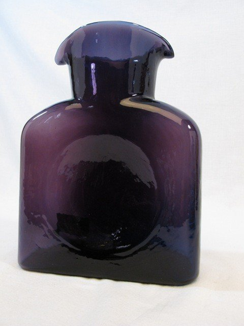 7: Purple Glass Blenko Double Spout Art Glass Bottle Va