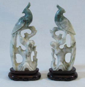 "Pair Of 8 1/4"" Stone Bird Figures On Wooden Bases"