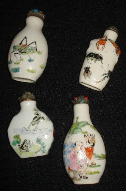 10B: Four White Snuff Bottles