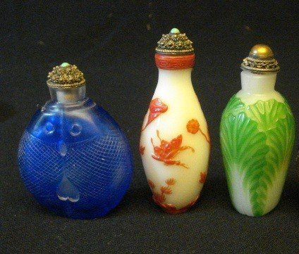 10E: Carved Peking Glass Snuff Bottles.