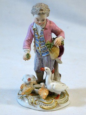 108A: 19th Century Meissen Boy with Geese
