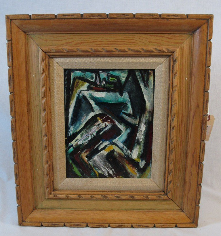 155: Framed Carl Zimmerman Oil on Board Abstract Painti