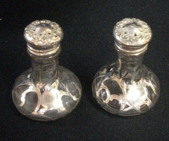 2B: Pair Sterling Silver Overlay Salt & Pepper