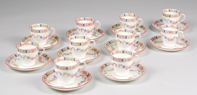 2: Set of 10 Minton Rose Demitasse Cups and Saucers
