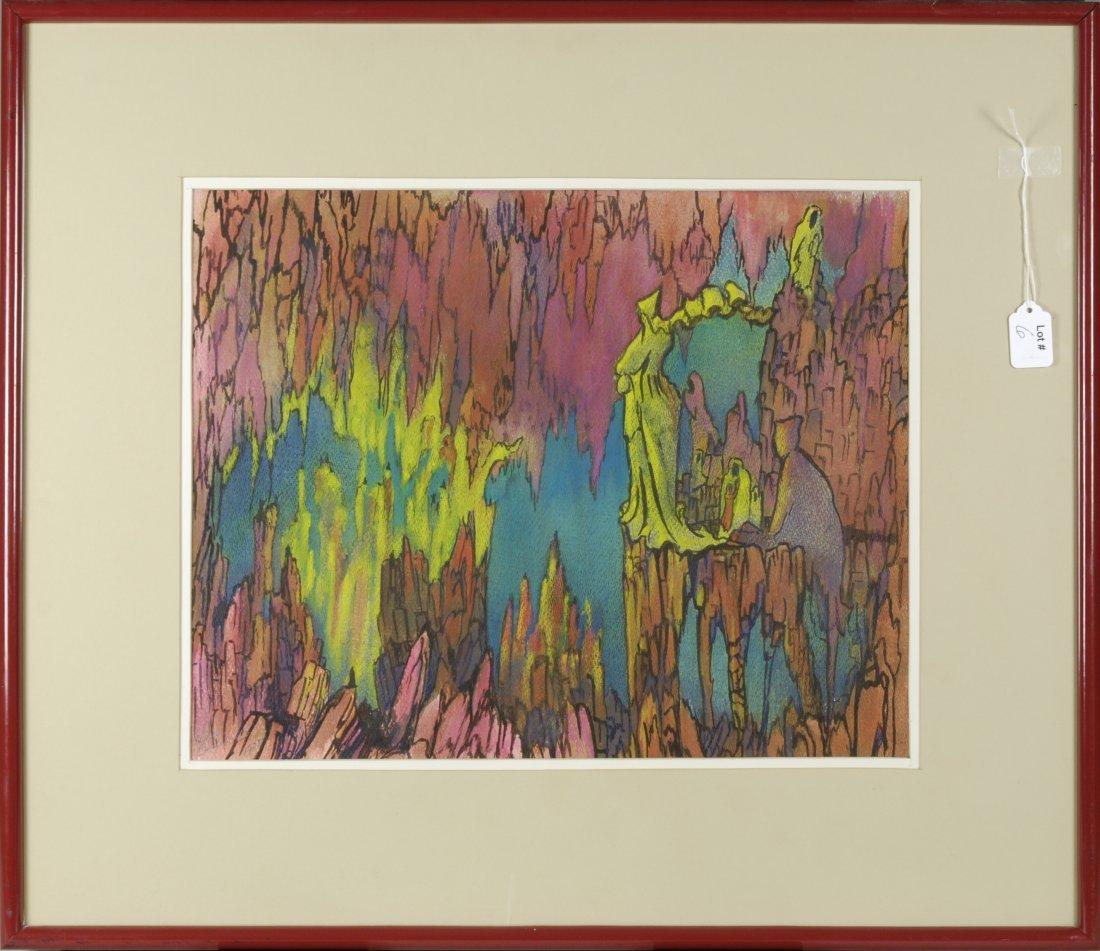 """6: Signed Ken Graves Framed Pastel """"Druids"""""""