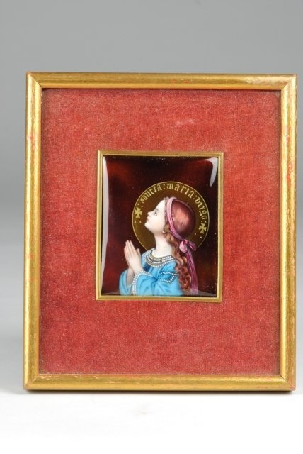 17: French Enameled Religious Icon on Copper