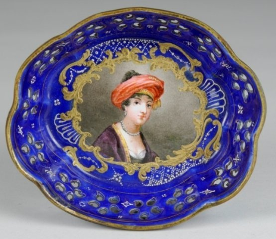 18: French Enameled Decorated Copper Bowl