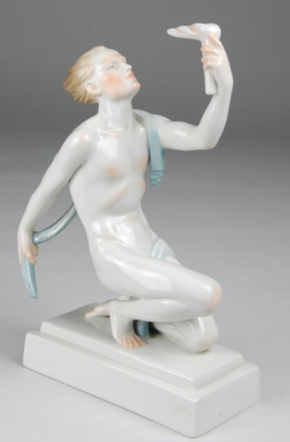 """20: Herend """"Olympic Flame"""" Male Porcelain Figurine"""