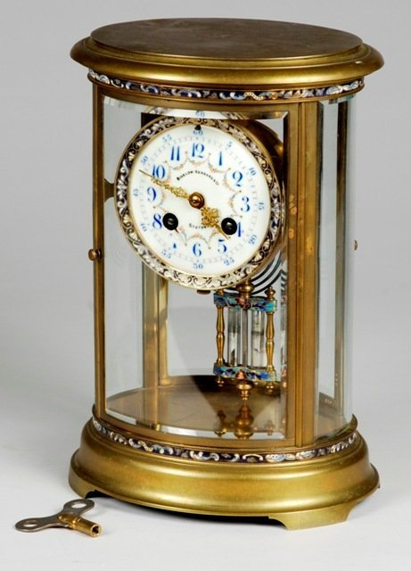 41: Oval Champleve French Crystal Regulator Clock