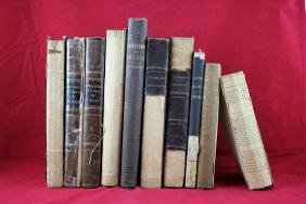 10 Leather & Canvas Bound  Books - 1814-1858
