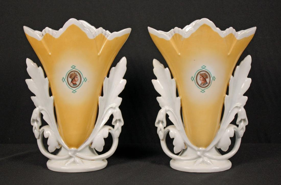 Pair of Old Paris Vases with Portraits