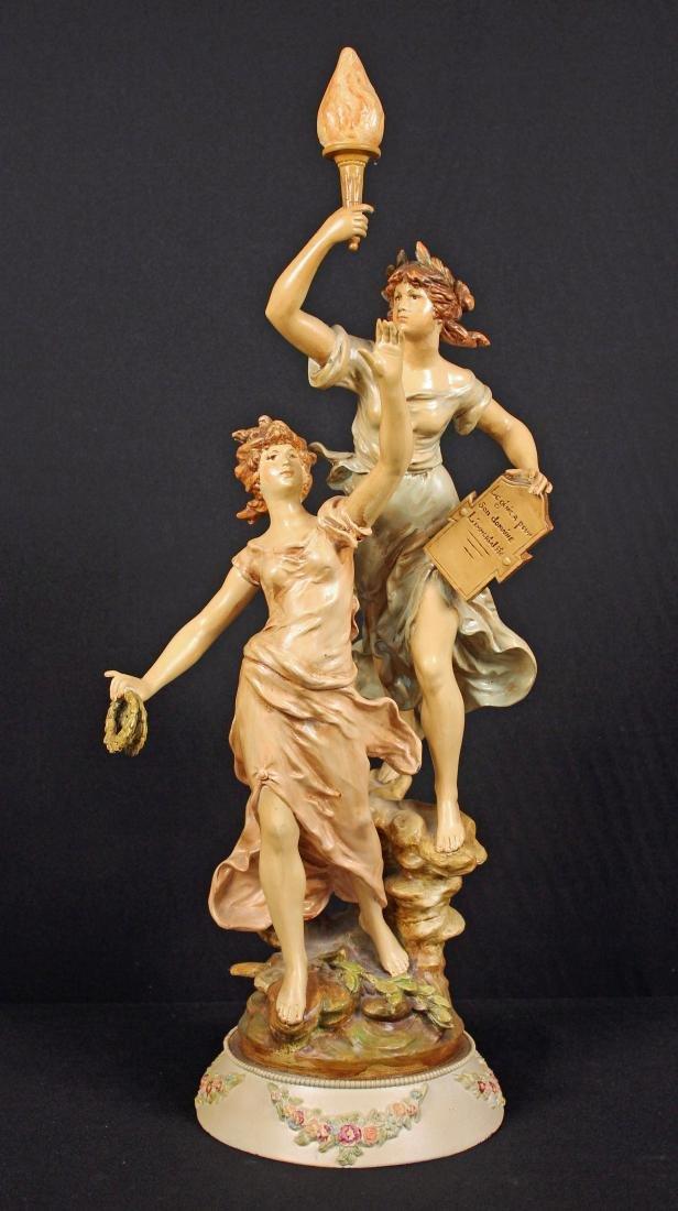 Large L&F Moreau Figural Spelter Sculpture