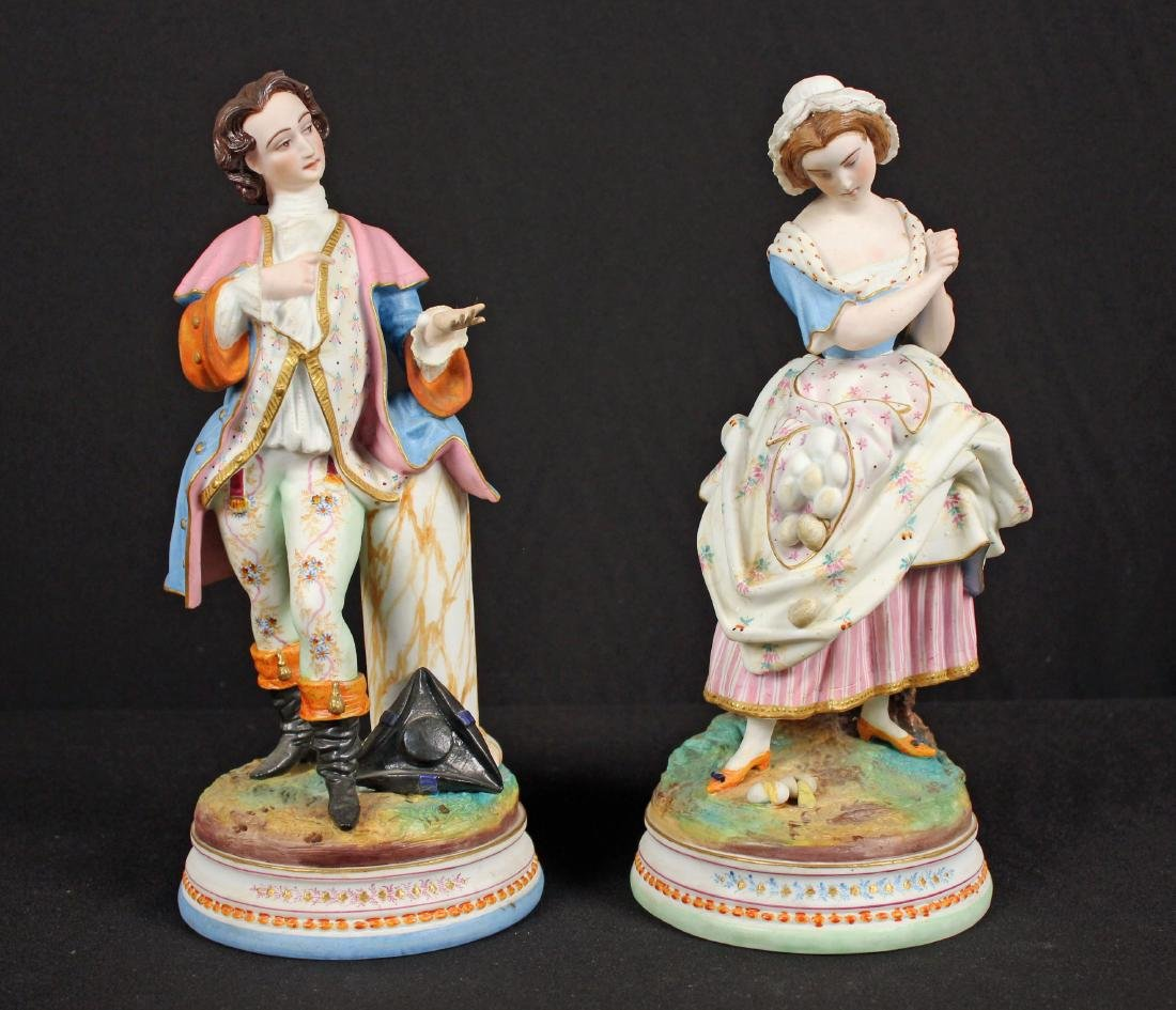 Pair 19th Century French Bisque Porcelain Figures