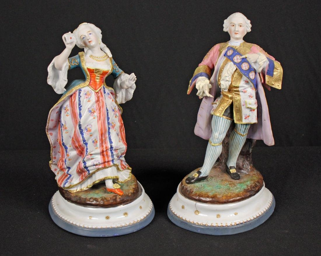 Pair 19th C. Continental Porcelain French Figures