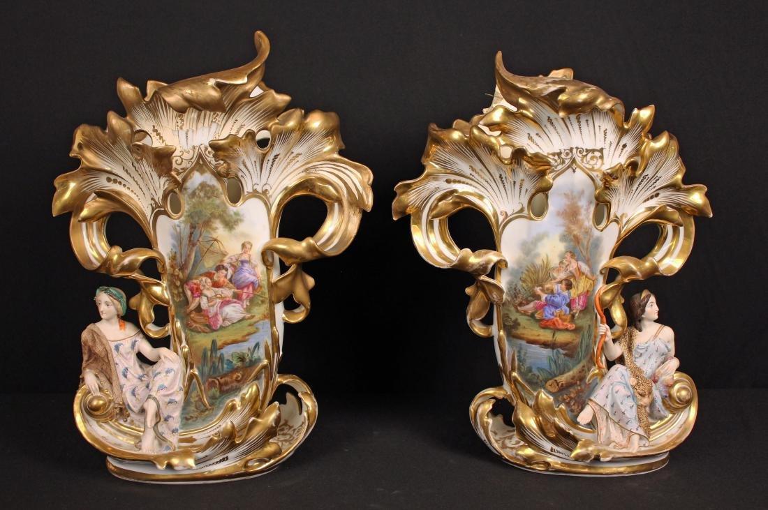 Pair of Figural Jacob Petit Old Paris Mantle Vases