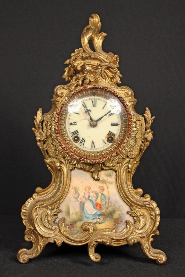 "Ansonia ""Trianon"" Mantle Clock w/ Porcelain Insert"