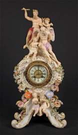 19th C. Meissen Porcelain Figural Mantle Clock