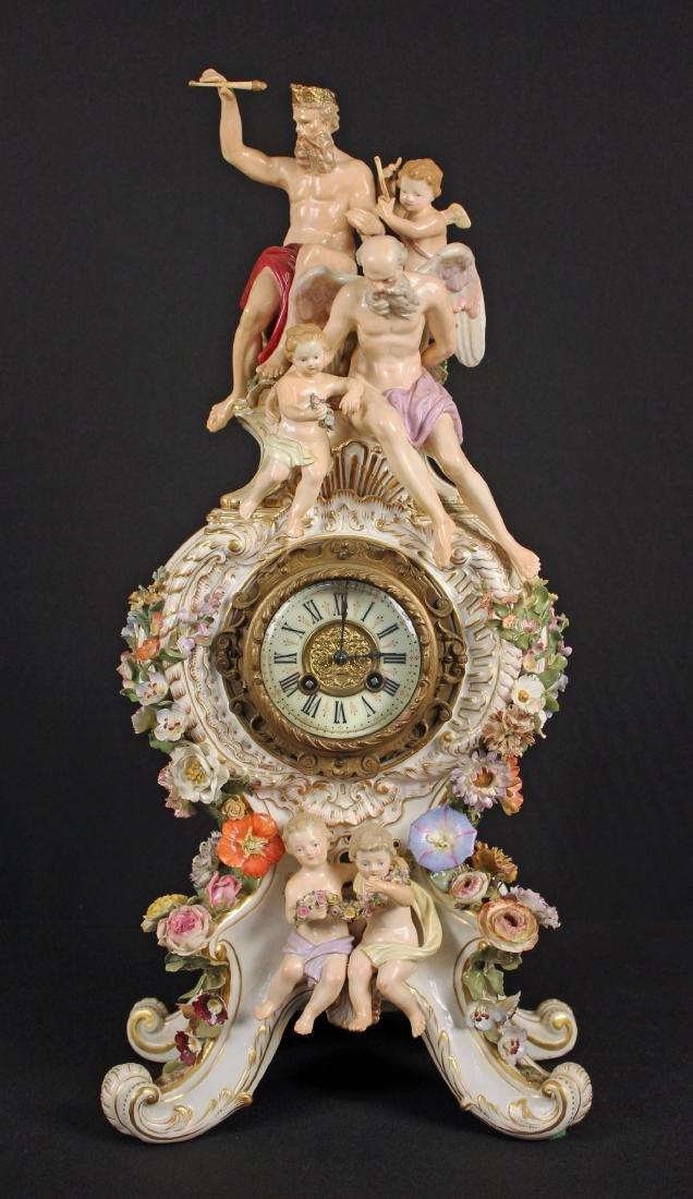 19th C. Meissen Porcelain Figural Mantle Clock