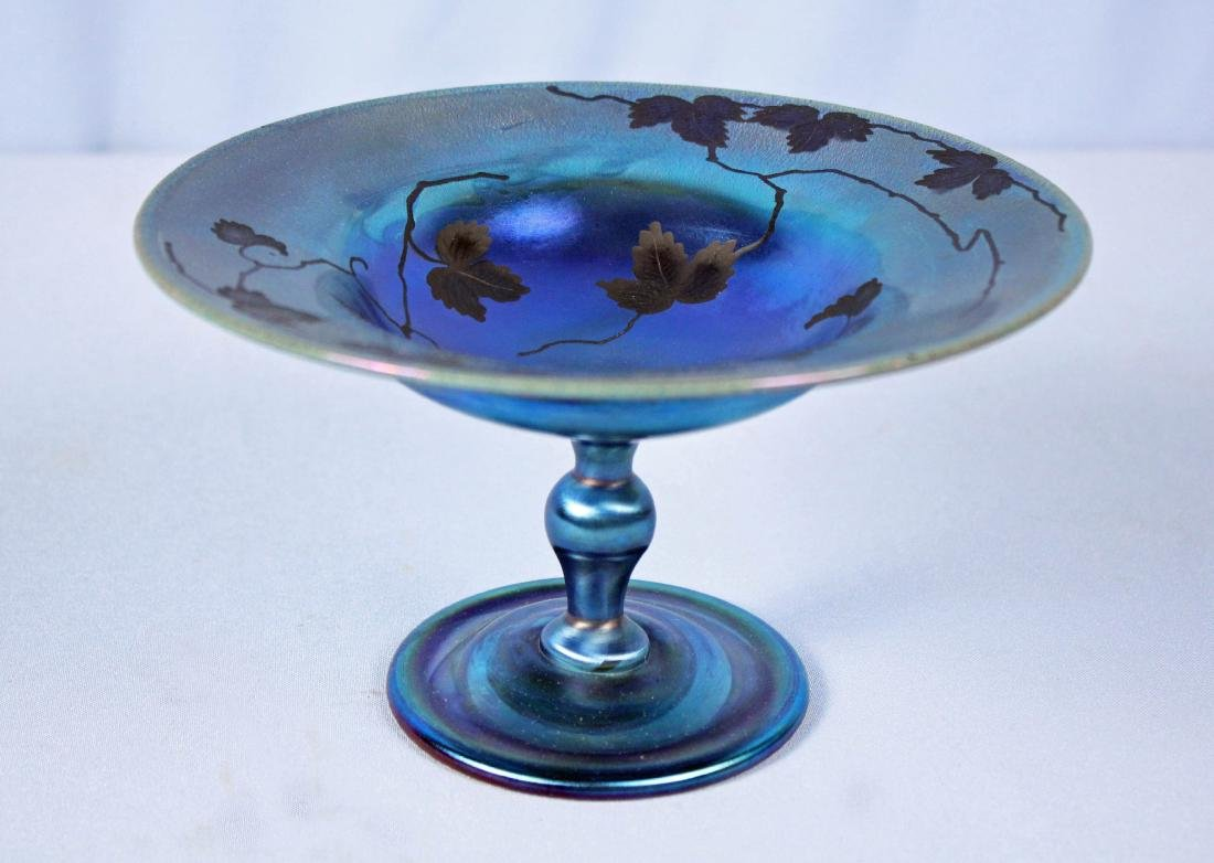 Tiffany Cobalt Blue Favrile Glass Etched Compote