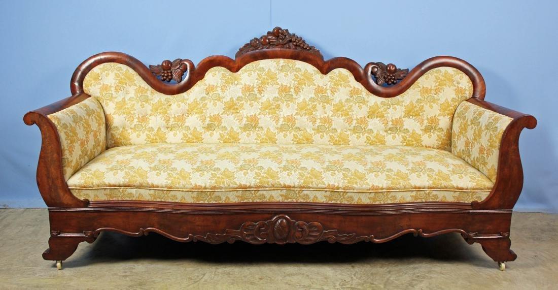 C. 1845 Empire Mahogany Sofa w/ Fruit & Banded Egg