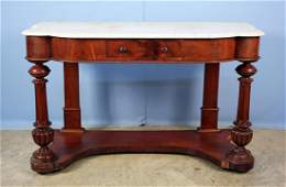 Mid 19th C. Marble Top Console Table w/ Drawer