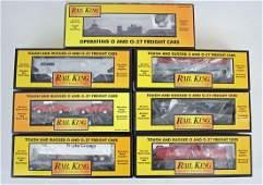 7 O Scale Rail King MTH Hopper Flat Cars Etc